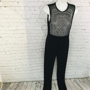 Jumpsuit very sexy see through top skinny leg S